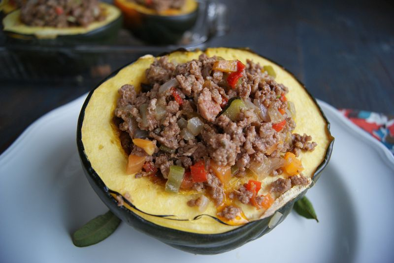 vegetable & beef stuffed acorn squash - Rubies & Radishes