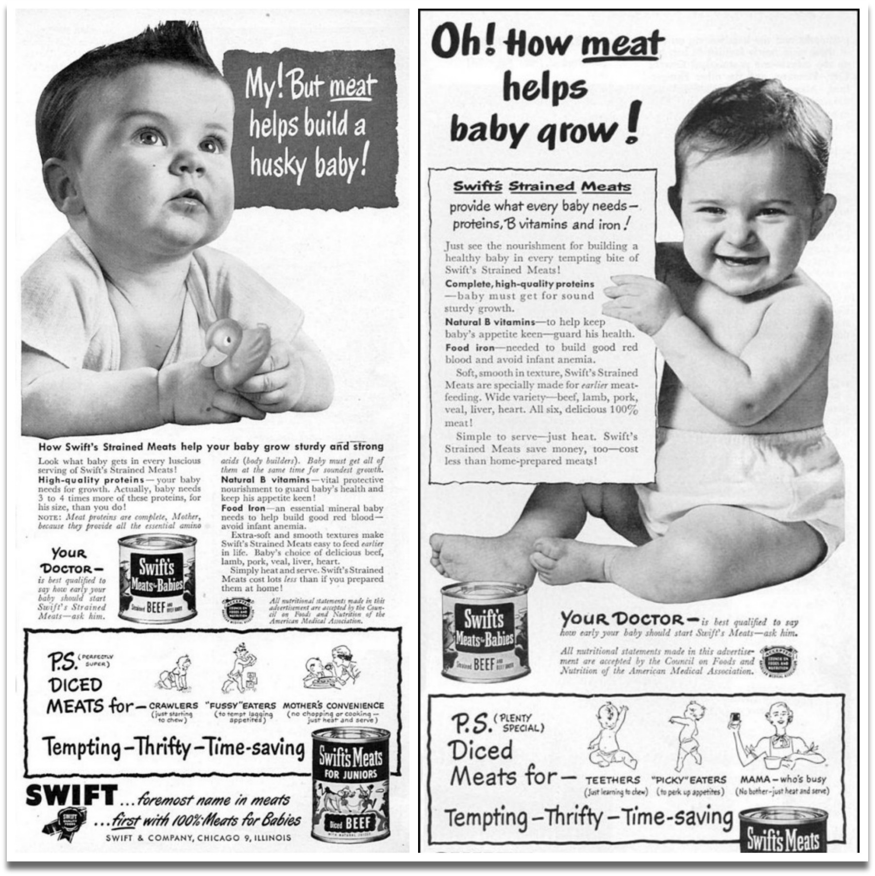 Old baby food ads collage