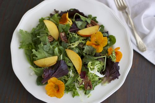 Nasturtium and Peach Salad with Coconut Toasted Pecans from rubiesandradishes.com // #paleo