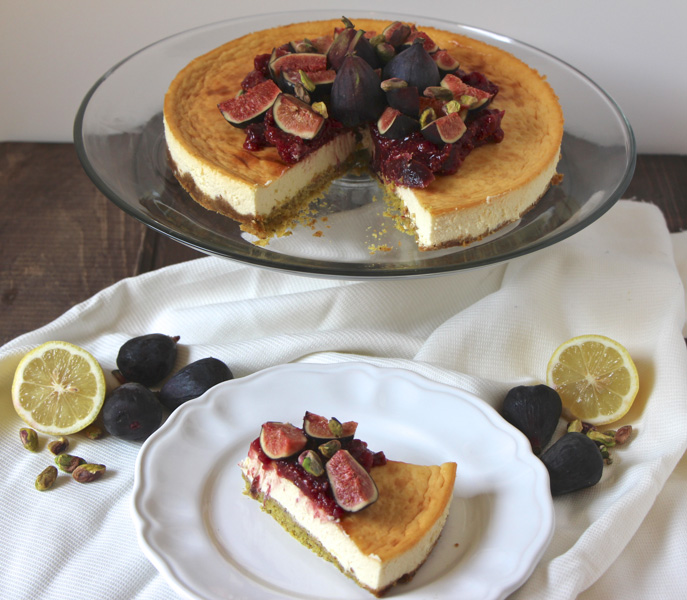Honey Pistachio Cheesecake with Fig Jam