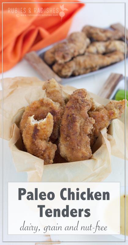 Paleo Chicken Tenders Pinterest Image - Rubies & Radishes
