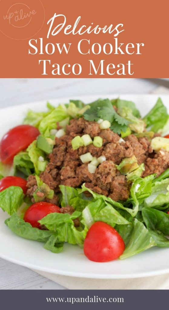 slow cooker taco mat on salad in white bowl