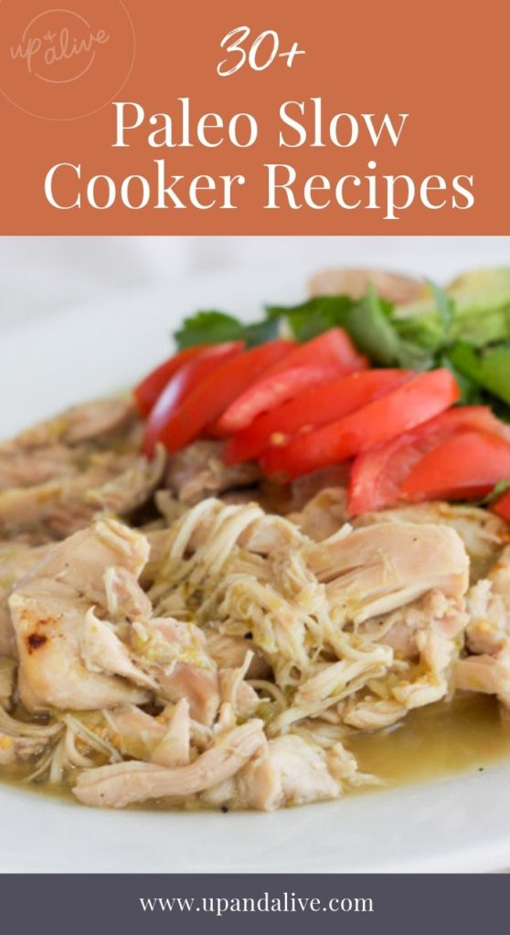 shredded chicken slow cooker recipe with text reading 30 plus paleo slow cooker recipes
