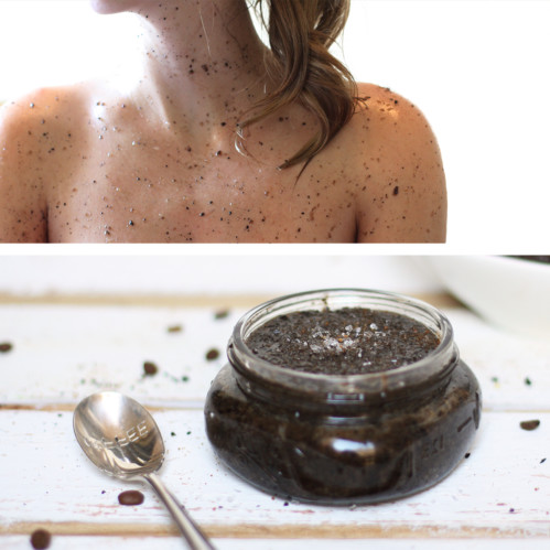 Make your own body scrub using this blend of coconut and almond oil, ground coffee beans, coconut sugar, and epsom salt.