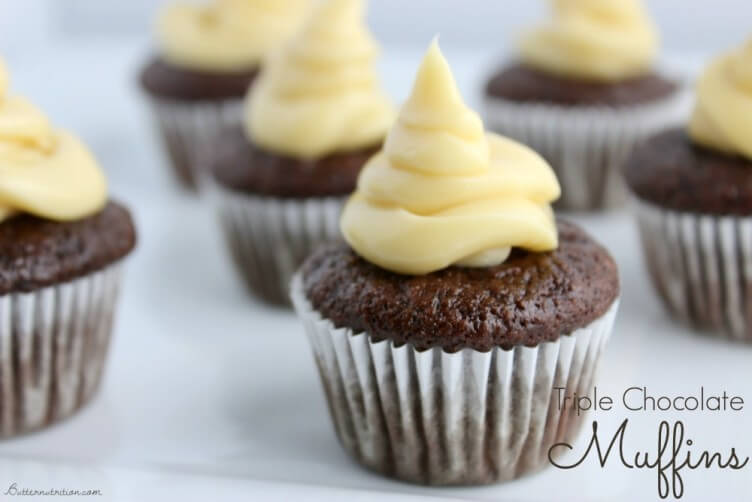Triple Chocolate Muffins with Buttercream Frosting from Butter Nutrition
