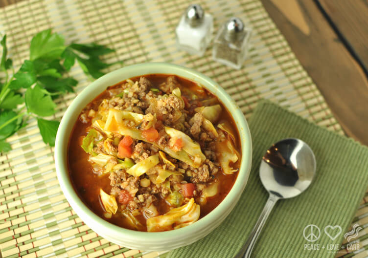 Deconstructed Cabbage Roll Soup from Peace Love & Low Carb