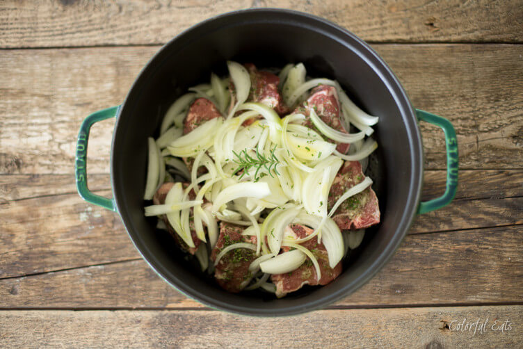 One Pot Braised Lamb with Caramelized Onions and Rosemary from Colorful Eats
