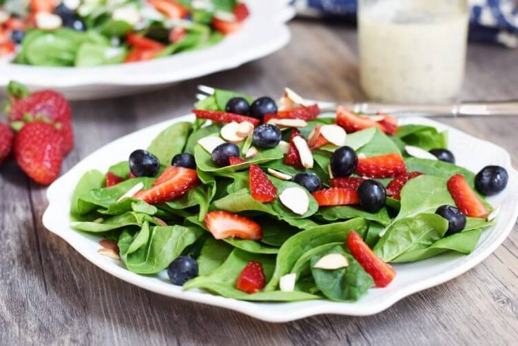 Spinach & Berry Salad With Creamy Poppyseed Dressing from Living Loving Paleo