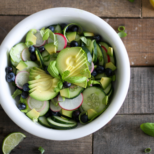 Click through to get the recipe for this lettuce free, fat fighting Cucumber and Avocado Salad recipe.