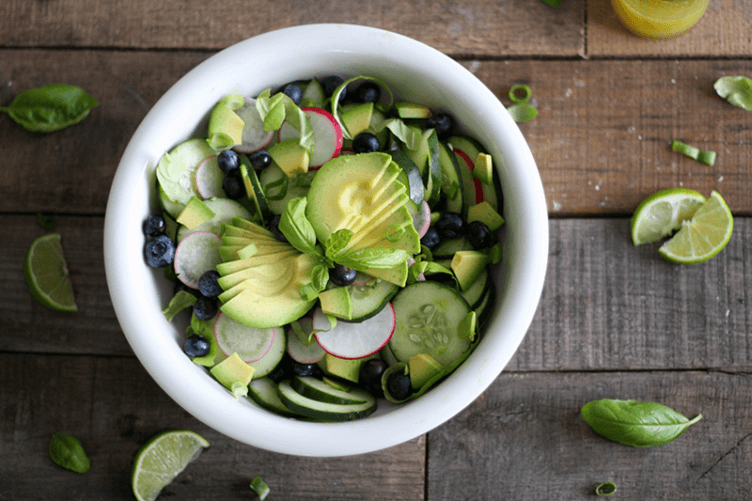 Click through to get the recipe for this lettuce free, fat fighting Avocado and Cucumber Salad recipe.