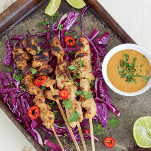 Indonesian Chicken Skewers with Peanut Sauce