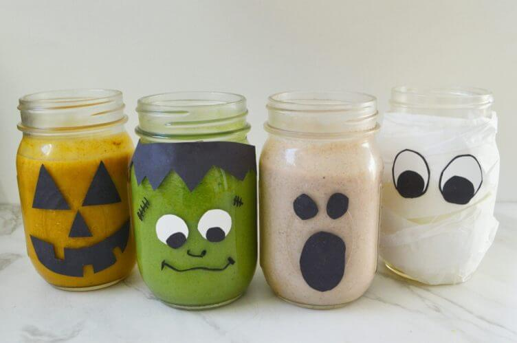 You & your kids will LOVE our spooky paleo smoothie & drink recipes, made completely in decorated mason jars! Keep halloween healthy and dairy-free, while being festive, & fun. Craft a diy mason jar ghost, monster, pumpkin jack-o-lantern, or mummy using just a permanent marker, glue stick, and paper!
