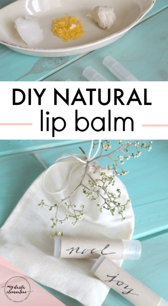 DIY lip balm recipe for making all natural chap stick at home. Tutorial uses oil, shea butter, beeswax, & essential oils. Great gift or stocking stuffer!