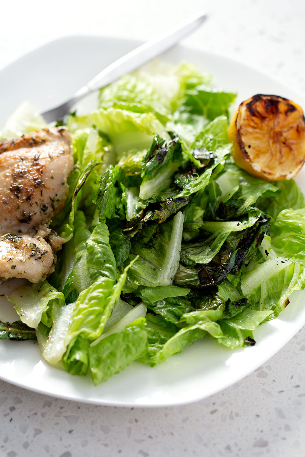 plate of salad with grilled lemon and chicken