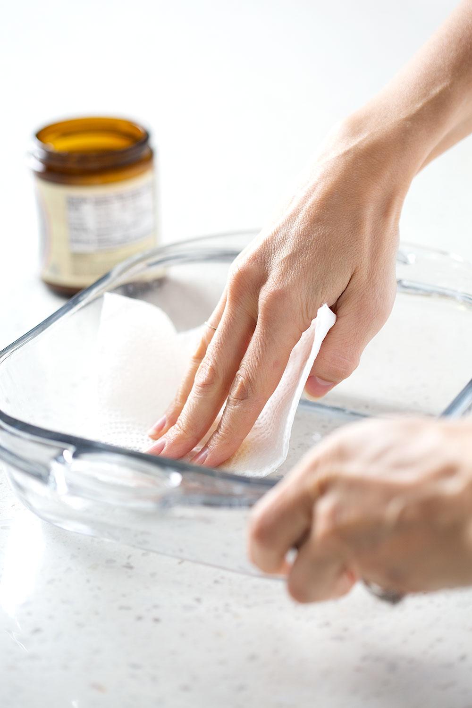greasing bake prior to baking