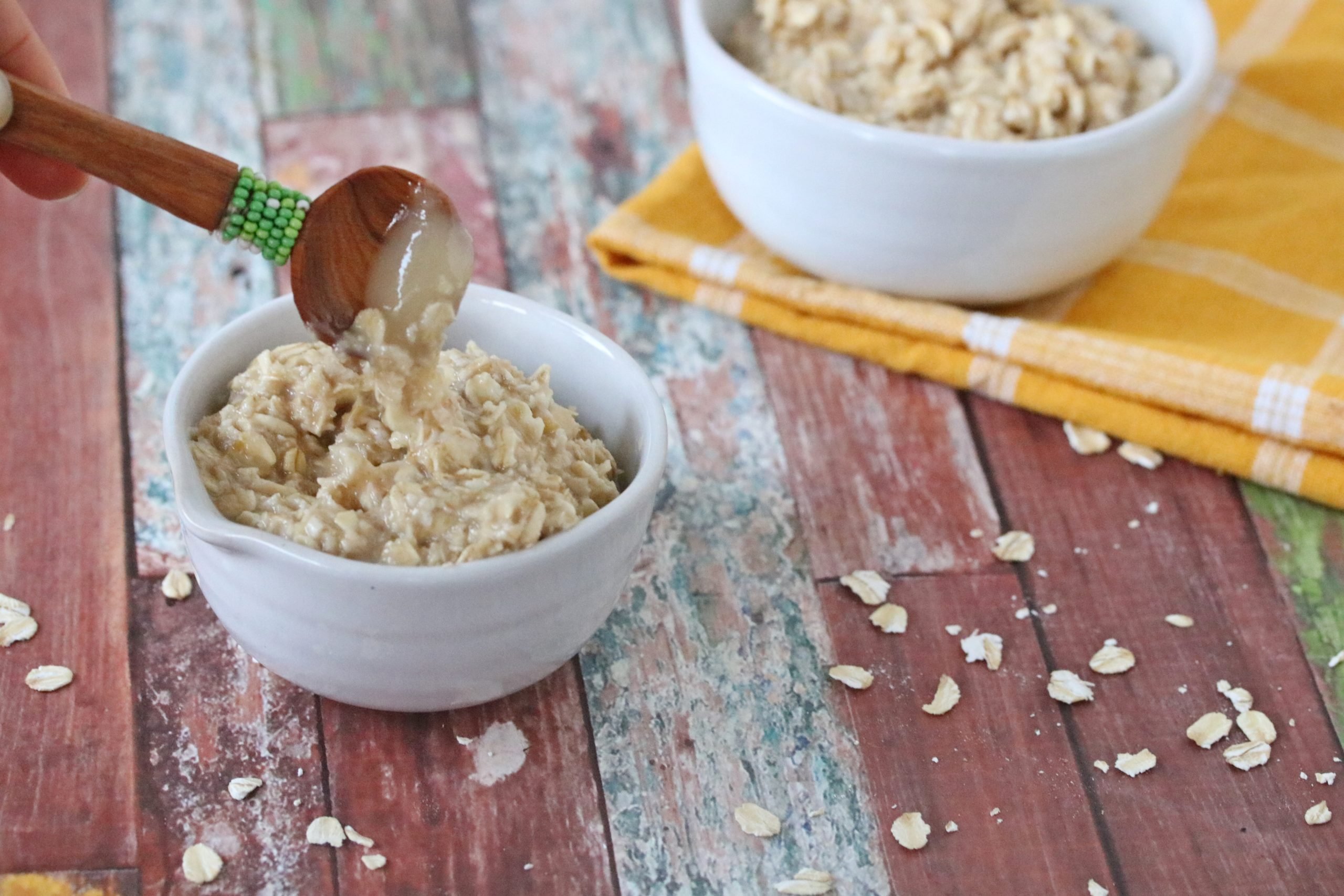 Easy oatmeal face mask in a white bowl