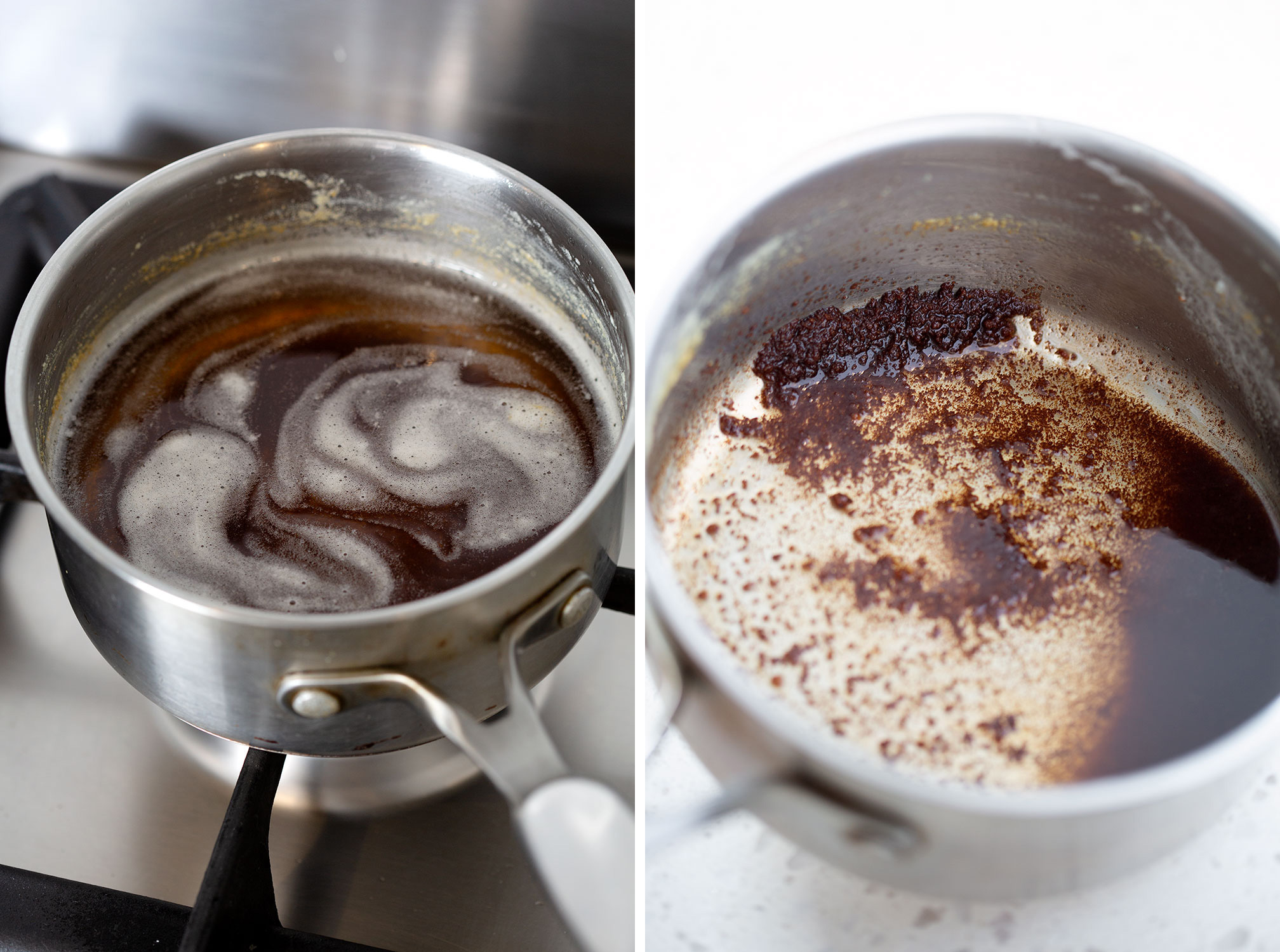 browned butter and milk solids in small saucepan