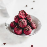 Dairy-free red velvet chocolate chip cookie dough bites