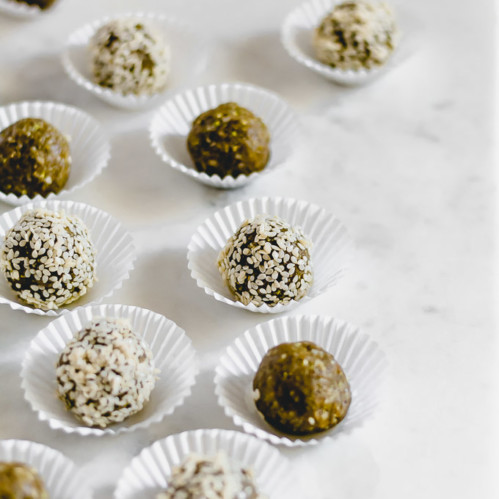Raw pumpkin seed pistachio date bites
