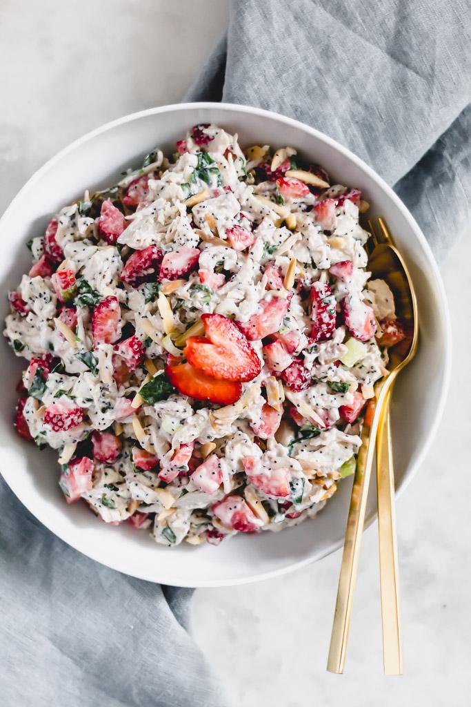 Strawberry chicken salad with Greek yogurt poppy seed dressing