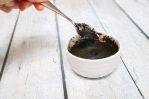 In process image for coffee face scrub recipe