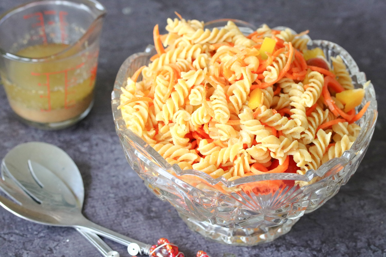 Easy, gluten-free pasta salad in a glass bowl