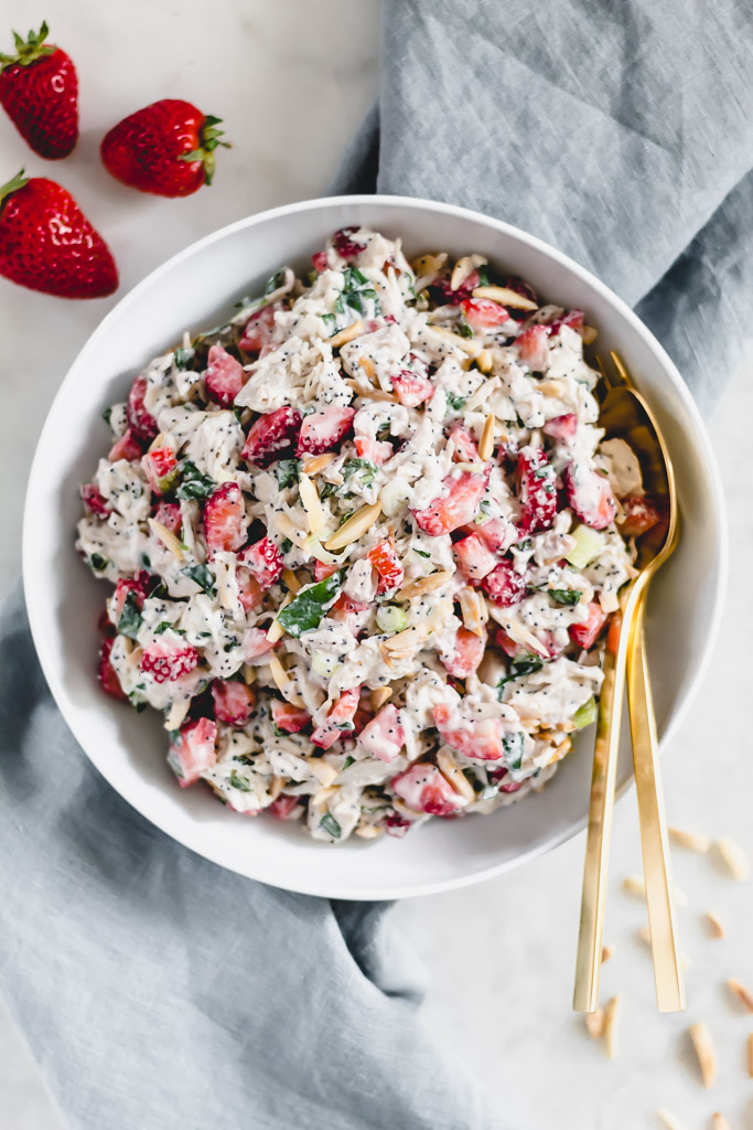 Strawberry chicken salad with Greek yogurt poppyseed dressing
